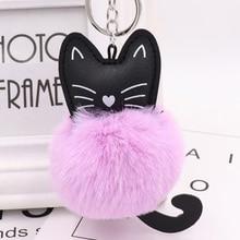 Sale Women Charm Soft Artificial Rabbit Fur Keychain Black Cat Pu Leather Pom Pom Keyring Car Bag Fashion Jewelry Accessory