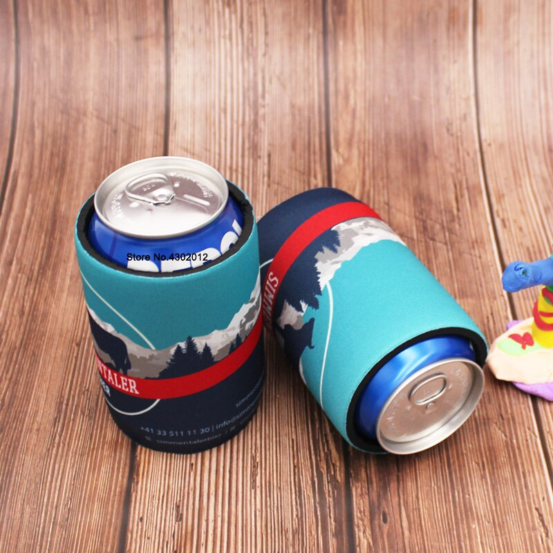 500pcs/lot Custom Printing Logo Beer Can Cooler Picnic Bags With Bottom Stubby Holders Wedding Gifts Beer Bottle Cooler Cover