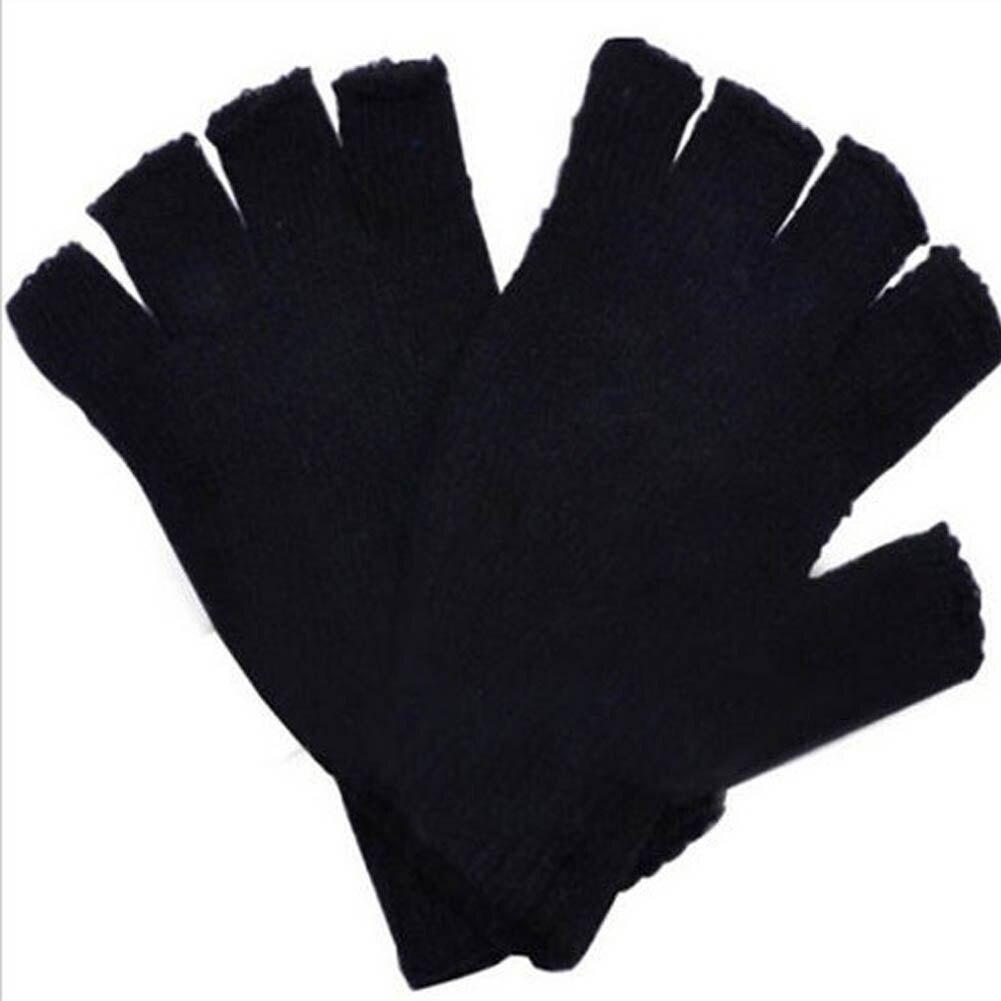 Moda frete grátis preto curto metade dedo sem dedos lã malha luva de pulso inverno quente luvas treino para mulher e homem