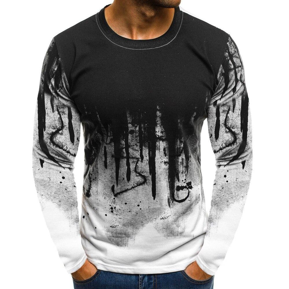 Oversized 3xl T Shirt Men Black Long Sleeve Shirt Men Printing Streetwear Casual Mens T Shirts Mens Clothing 2019 Camiseta Hombe