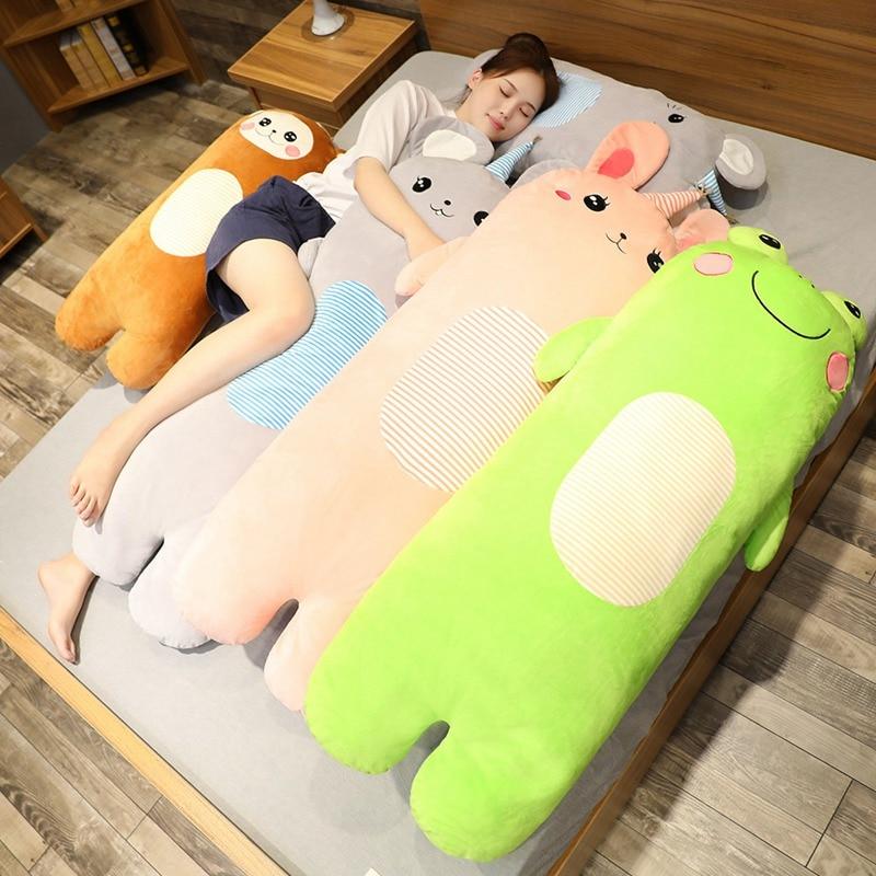 ¡Novedad! Conejo suave y mono de 70cm/100cm, juguete de peluche con bonitos dibujos de animales, Rana y ratón, peluche de cama, cojín para silla, regalos para chico