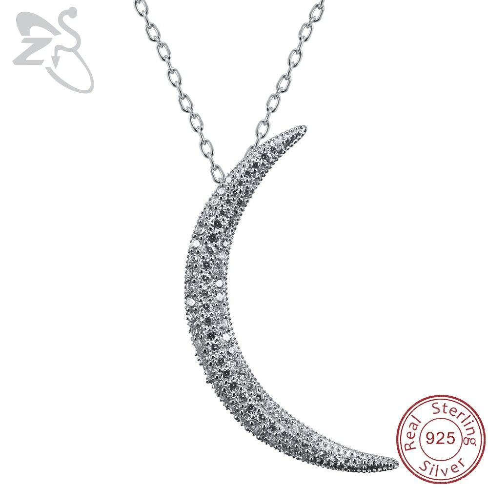 ZS полумесяц Кулон ожерелье для женщин проложенный CZ кристалл луна кулон серебро 925 пробы ожерелье ислам ювелирные изделия Израиль