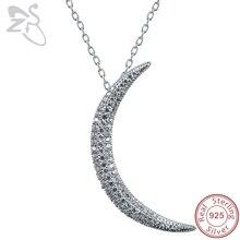ZS croissant de lune pendentif collier pour femmes pavé CZ cristal lune pendentif 925 en argent Sterling collier Islam bijoux israélien