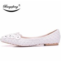 bao ya fang womens white brides wedding shoes chiffon lace flat shoes fashion flower drill large dress shoes