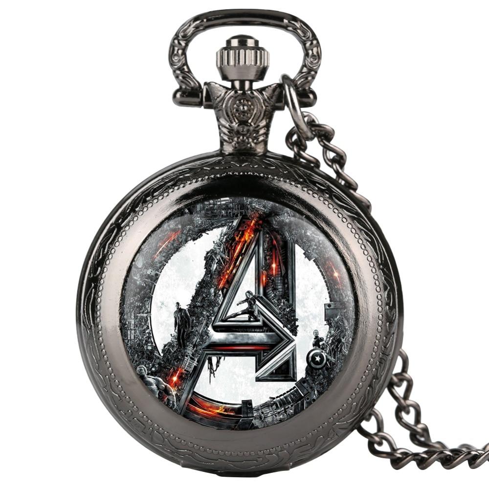 Superhéroe De Los Vengadores Reloj De Bolsillo Marvel Comics relojes De Bolsillo De cuarzo collar cadena colgante Reloj De Bolsillo Fans regalo