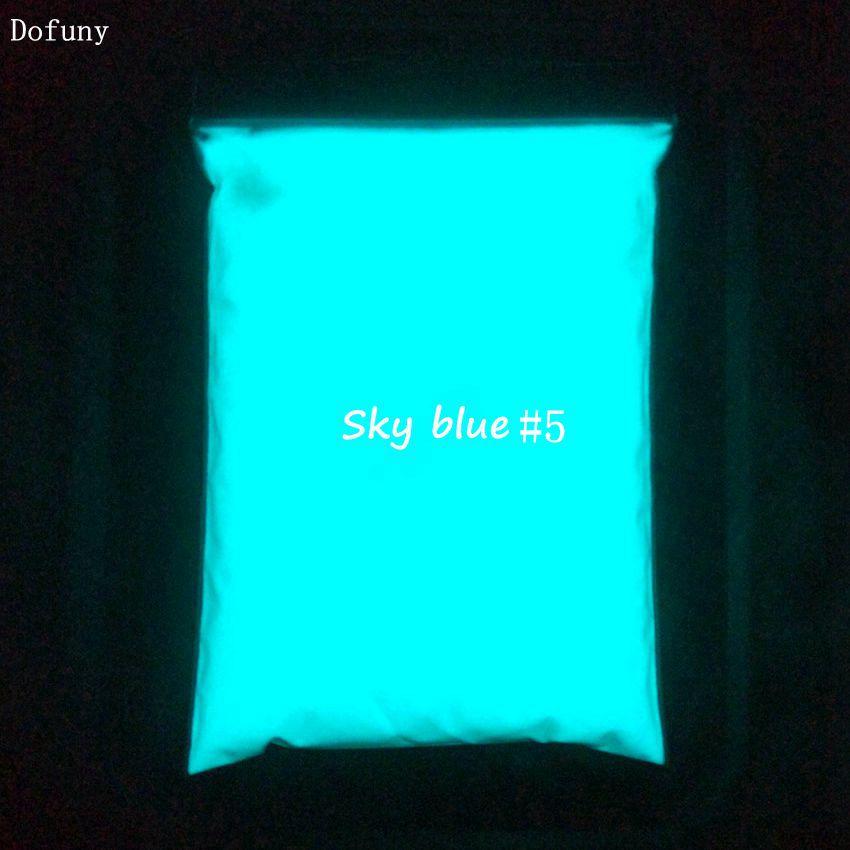 לבן אבקת photoluminescent אבקת זרחן פיגמנט צבע DIY 500 גרםשקית, חומר לקשט, זוהר בצבע כחול כהה