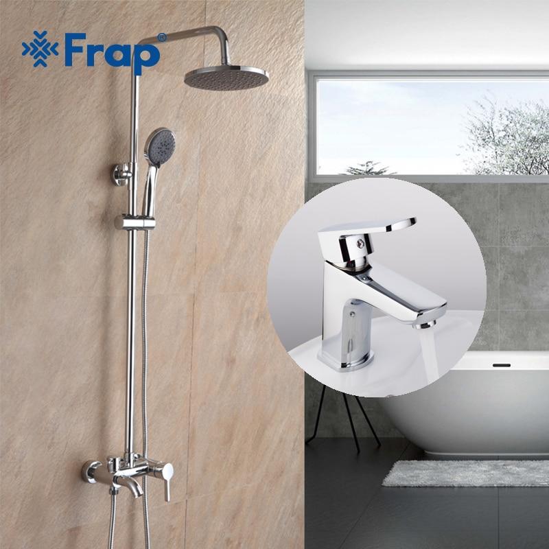 Frap высокое качество ванная комната сочетание латунный смеситель и ванная комната смеситель холодной и горячей воды краны хром F2416 F1064