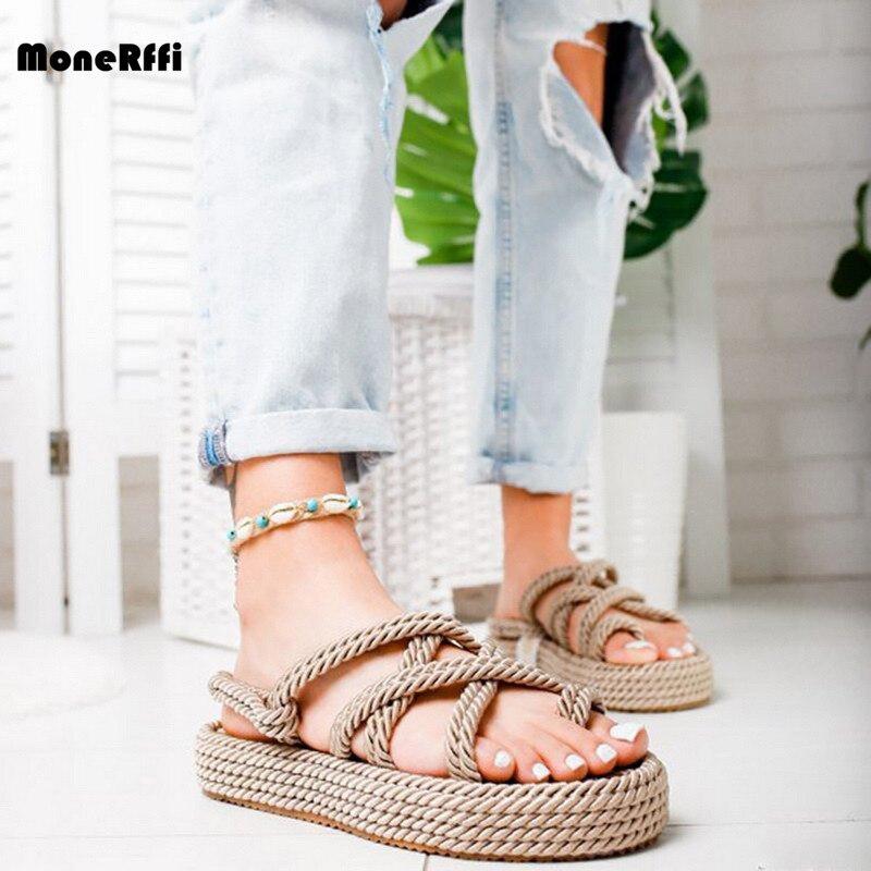 Sandalias de verano Monerffi, chanclas, zapatos antideslizantes romanos transpirables, sandalias de cuerda de lino de color puro