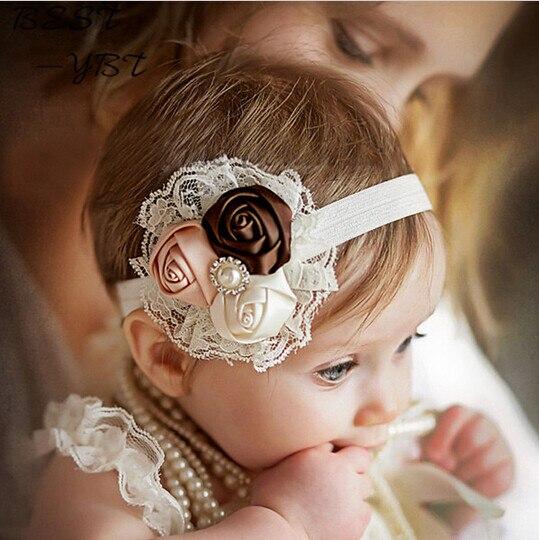 Girl Elastic Headbands with Pearl Flower Hair Accessory Rose Hairband Headwear Hair Band Accessories