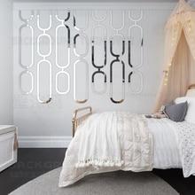 Stickers muraux miroir R107   Décoration de salle de bain, autocollant esthétique de chambre à coucher, autocollants géométrie de chaîne de dortoir, carreaux de forme Simple