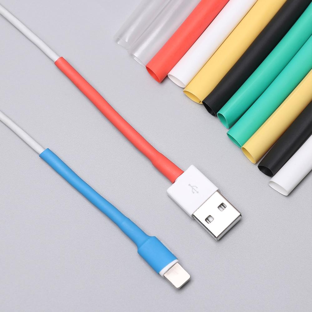 12 pçs cabo protetor de tubo protetor capa usb carregador cabo fio organizador tubo de psiquiatra calor manga para ipad iphone 5 6 7 8 x xr xs