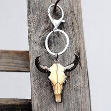 Porte-clés tête de taureau à la mode porte-anneau clé en pierre naturelle pour hommes accessoire bijoux cadeau