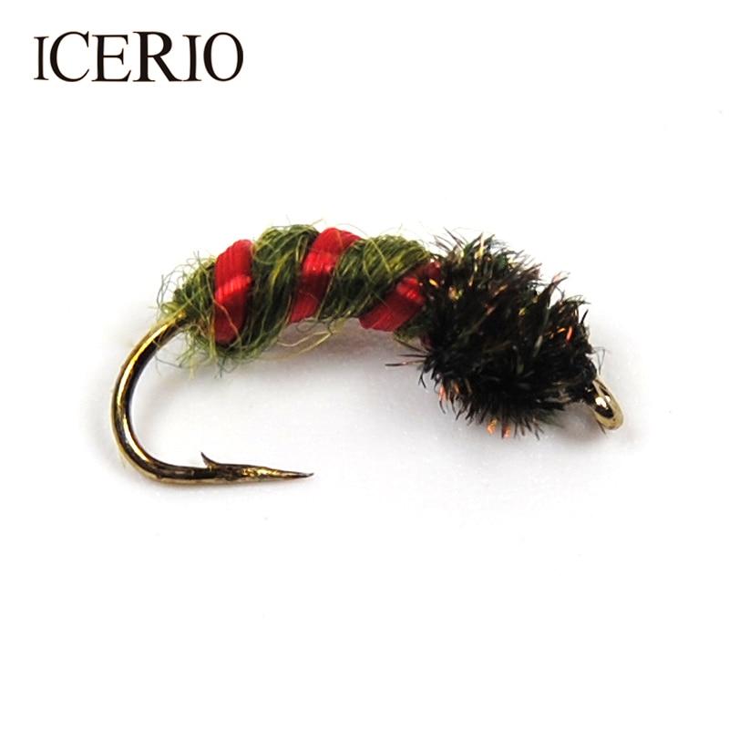 ICERIO 8 шт Павлин герл личинки Пупа Нимфа мухи приманки на форель для ловли нахлыстом #12