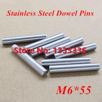 20 unids/lote M6 * 55 GB119 de pines de pasador de acero/cilindro redondo paralelo Pin Dia 6mm