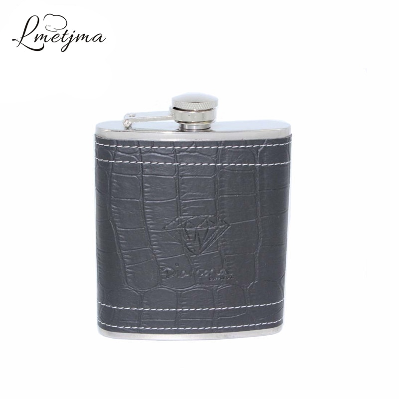 7 LMETJMA oz Whiskey Hip Flask Para Flasque Álcool com Bolso Beber Frascos Liquor Garrafa Caneca De Viagem De Couro com Caixa k0043