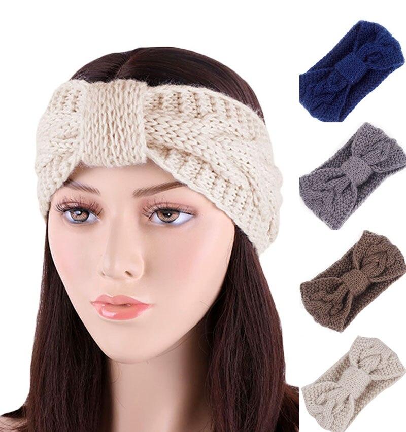 New fashion women Winter Headband Hair Turban Crochet Warmer Ear Knitted Headbands For Girls Women Knotted Hairband