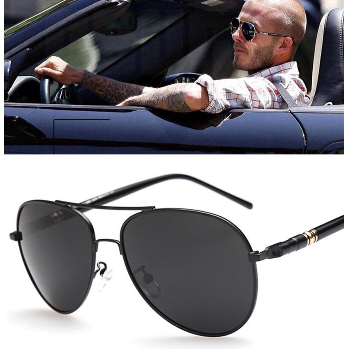 Aviation Metail Frame Quality Oversized Spring Leg Alloy Men Sunglasses Polarized Brand Design Pilot Male Sun Glasses Driving stylish golden alloy leg matte black frame sunglasses for women