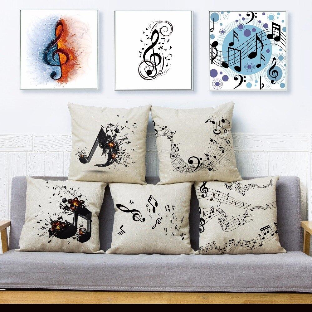 Nota musical folha de música impressão lance capa de almofada 45*45cm quadrado capas de almofada de linho travesseiros casos sofá casa decoração fronha