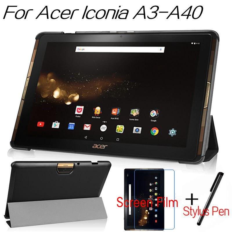 למעלה איכות חכמה כיסוי עור PU עבור Acer Iconia Tab 10 A3-A40 A3 A40/B3 A30 10.1 inch מקרה לוח + מסך חינם מגן + עט