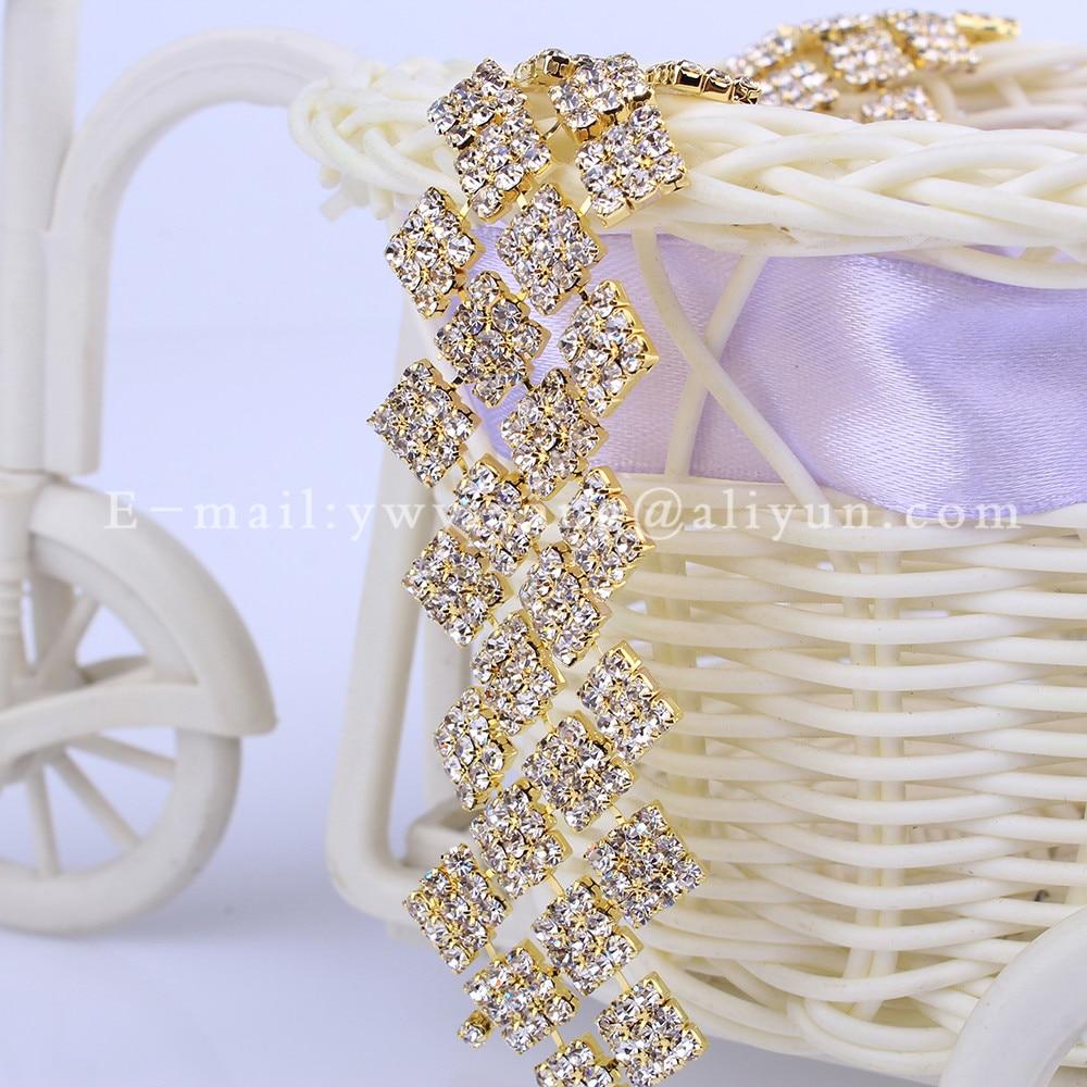 Squar shape 5 Yard Crystal Close Rhinestone Trimming Bridal Evening Dress Decoration Cup Chain Garment Bag Dress Accessories