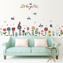 Oiseau à fleurs de dessin animé dc28   Autocollant Mural autoadhésif, salle de bain amovible, chambre à coucher, salon, cuisine, autocollant de décoration murale, bricolage