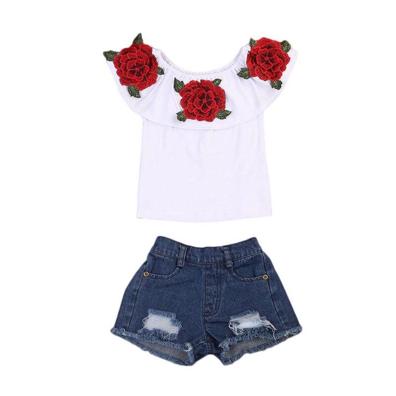 2017 новая модная детская футболка с цветочным принтом для девочек, топ + джинсы с дырками, комплект одежды из 2 предметов с розами, От 1 до 6 лет