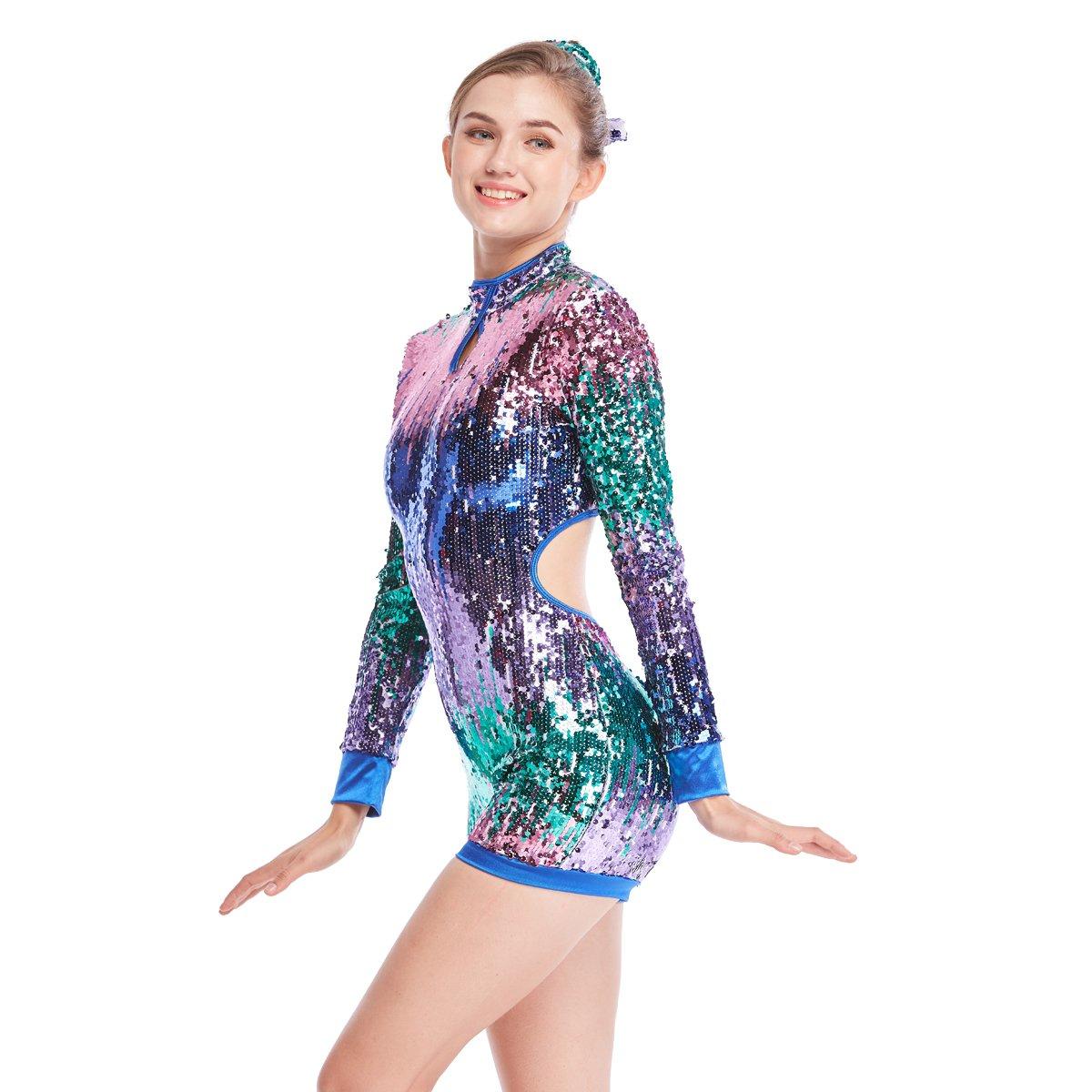 أزياء رقص Biketard Jazz ، أكمام طويلة, ملابس أداء الرقص ، لامعة ثقيلة