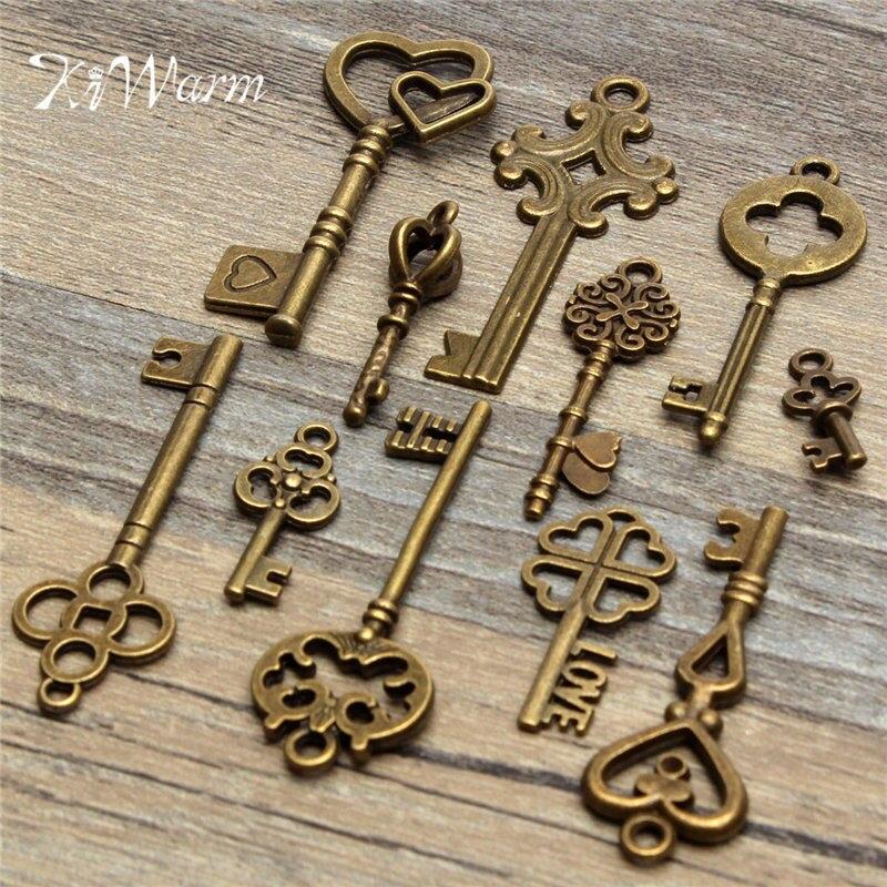 Kiwarm dedicar conjunto 11 pçs antigo vintage olhar bronze chaves esqueleto fantasia coração arco pingente diy decoração artesanato de metal