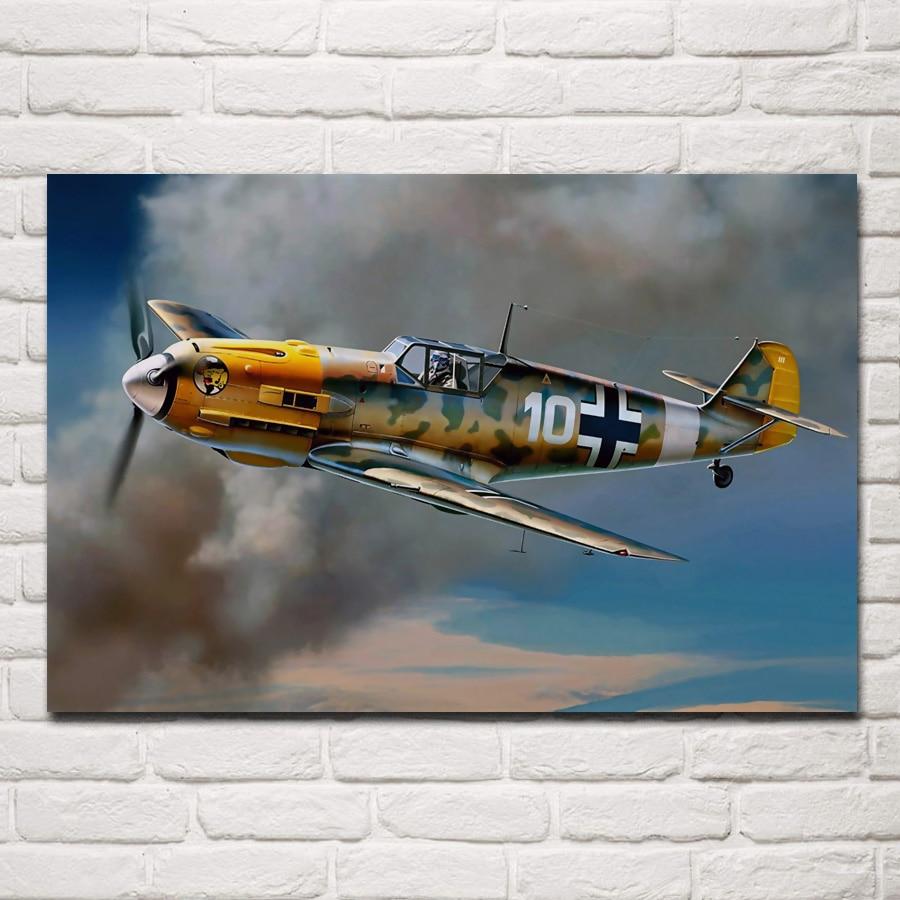 Retro ww2 hélice avión sala de estar pared del hogar arte moderno decoración marco de madera y tela carteles KC199