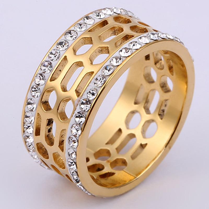 UFOORO moda Sivler/rueda hueca de oro blanco claro CZ anillo para mujeres boda compromiso relleno joyería cumpleaños anillo regalos