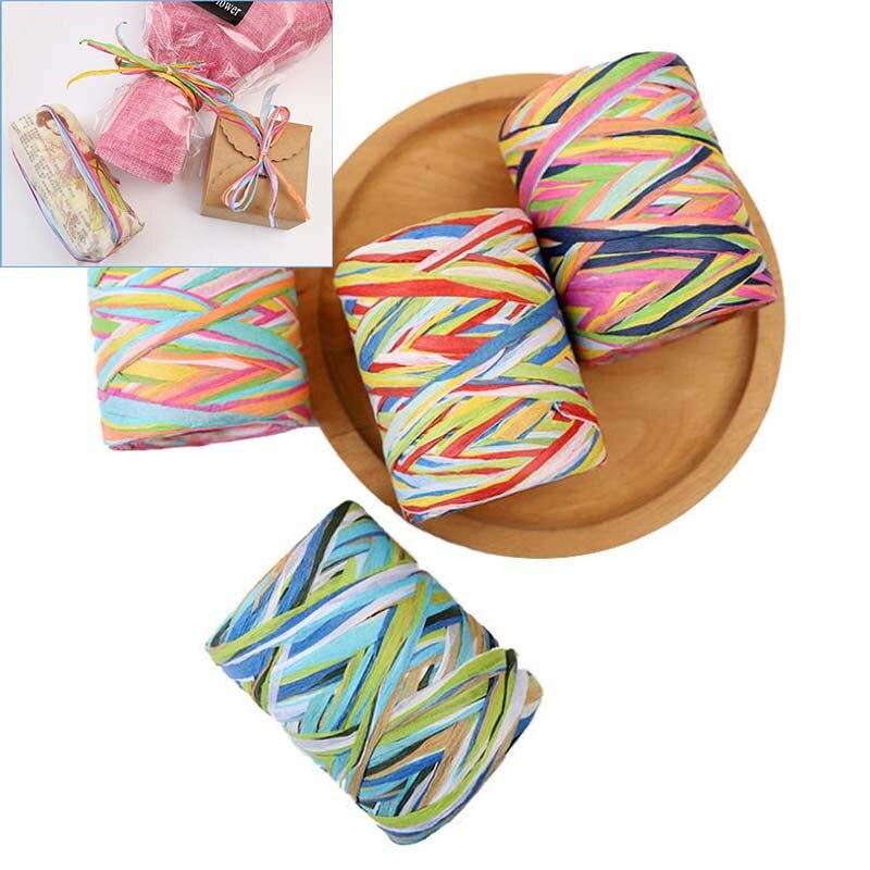 80 M/rollo DIY rafia cuerda de papel cuerda para DIY caja de regalo envoltura accesorios decorativos hechos a mano cuerda manualidad para regalo