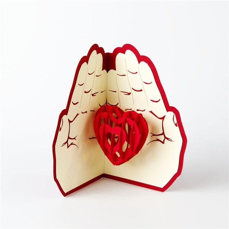 Regalo creativo para vacaciones, regalo para el día de la madre, tarjeta de felicitación 3D Love In Hands, nuevo