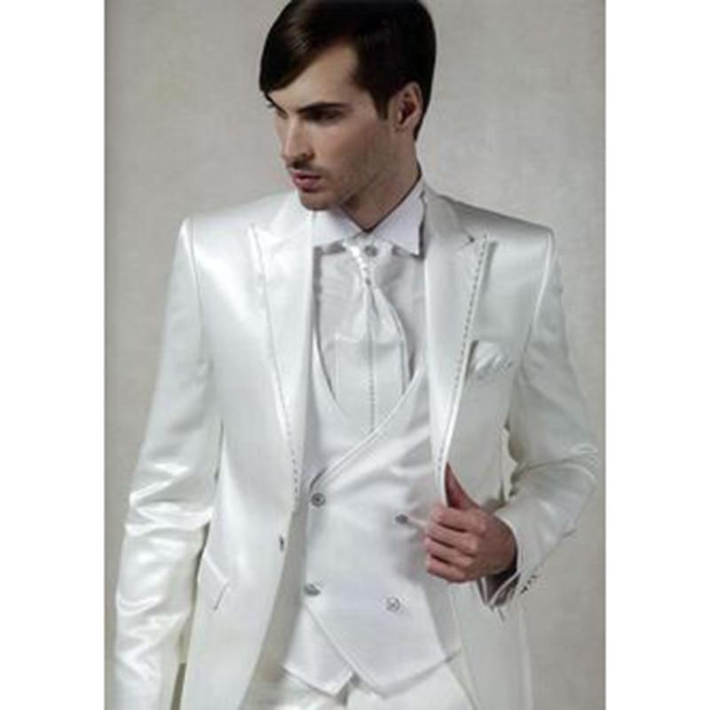 2017 Wit Satijn Italiaanse Mannen Pak Slim Fit 3 Stuk kostuum homme Custom Gentle Bruidegom Party Blazer mens suits Terno Masculino