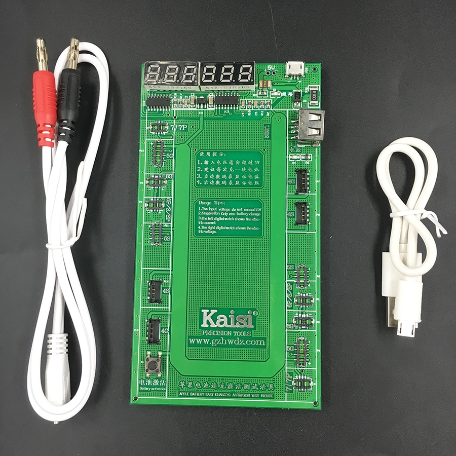 kaisi original dc power supply phone current test cable for apple iphone 7g 6p 6 5s 5g 5 4s test wire repair tools Kaisi 9201 Battery Activation Charge Board plate jig for Phone 7 Plus 6S 6 Plus 5S 5 4S 4+micro USB Cable phone repair tool