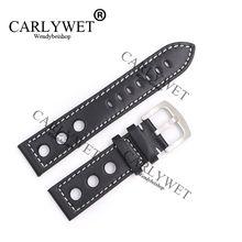 CARLYWET 22mm populaire véritable cuir de veau fait à la main noir avec des points blancs bracelet de montre-bracelet pour Tissot Montblanc Tudor Omega