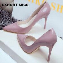 2020 femmes chaussures bout pointu pompes en cuir verni chaussures habillées talons hauts bateau chaussures de mariage Zapatos Mujer 10cm/7cm/4cm