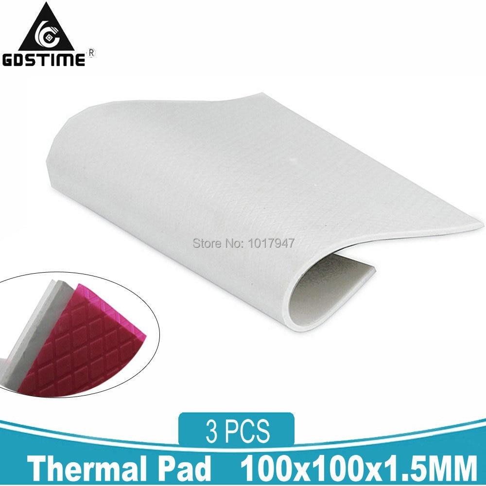 new gpu cpu heatsink cooling conductive silicone pad ic heat dissipation 100mm 100mm 1mm thermal pad high quality 3Pcs Gdstime 100mm*100mm* 1.5mm Thermal Pad Sheets GPU CPU IC Heatsink Cooling Conductive North South Bridge Silicone Pad