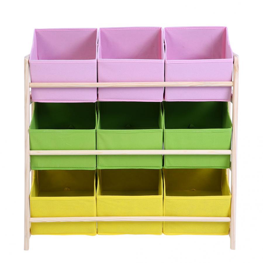 3-tier Baby Kids Toy Wooden Shelf Storage Rack Organizer Holder 9 Fabric Boxes Cases Toy Storage Shelf
