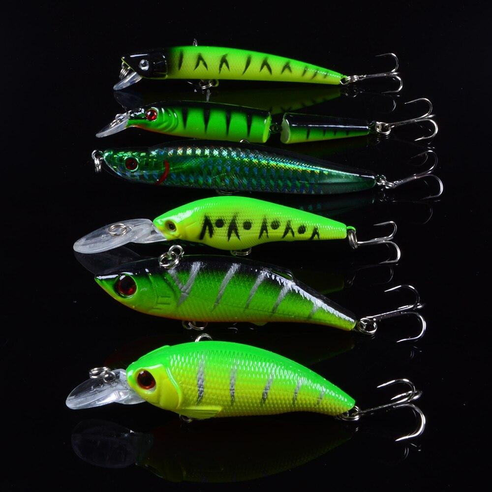 6 pçs/lote iscas de pesca artificial minnow manivela popper vib isca fazer wobbler crankbait pesca equipamento