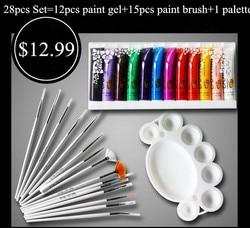 Conjunto de Pintura profissional 12 3D Multi-Superfície de Cor Nail Art Pintura UV Gel + 15 pcs Pincel Sorteio caneta + 1 pcs Paleta de Ferramentas Manicure