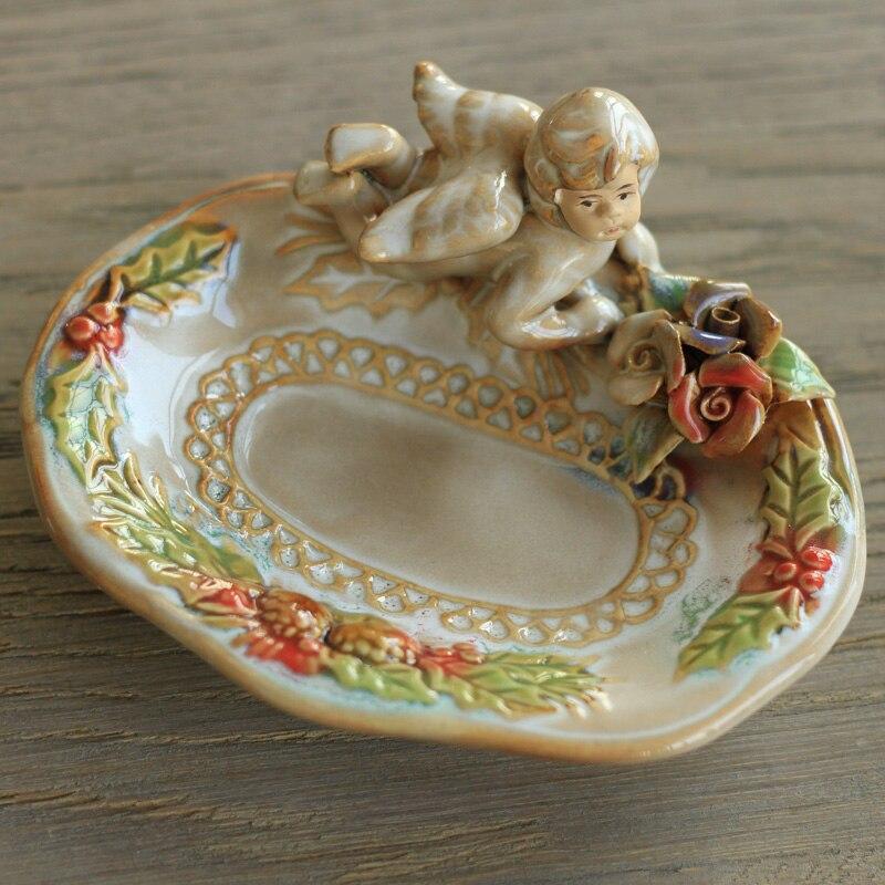European Pastoral Village Angel Home Furnishing Bathroom Supplies Fruit saucer Ceramic Dish Soap Box Sushi dish Small plate gift
