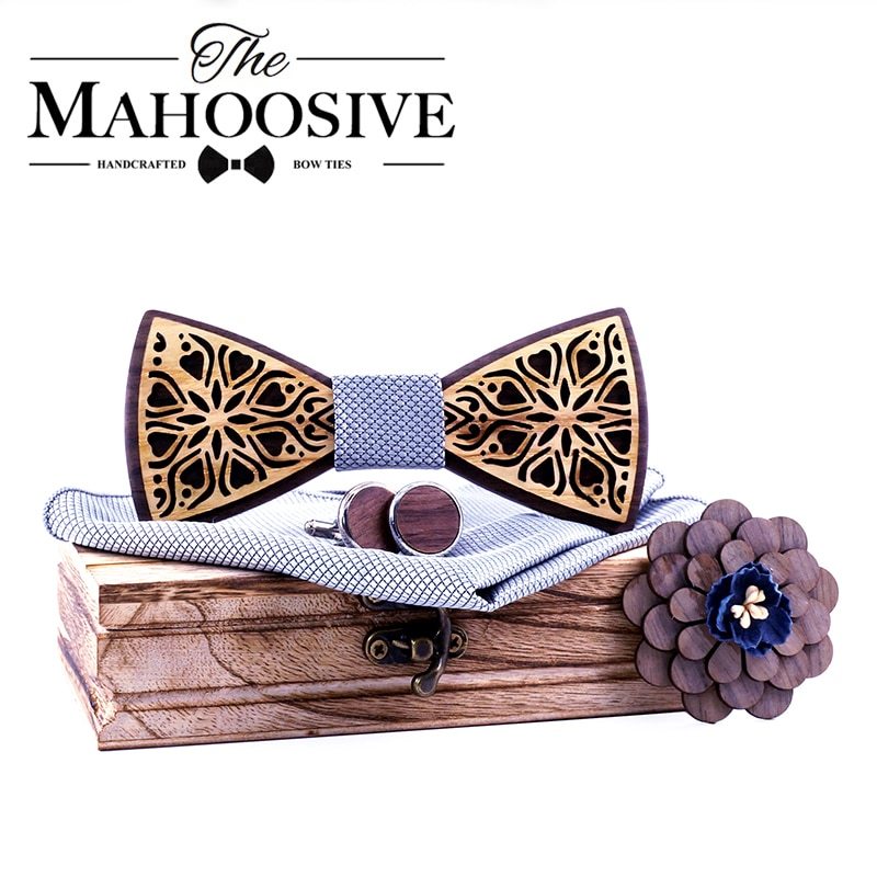 Mahoosive Floral gift set Wooden Bow Ties for Men Bowtie Butterflies Wedding suit wooden bowtie Shirt krawatte Bowknots necktie