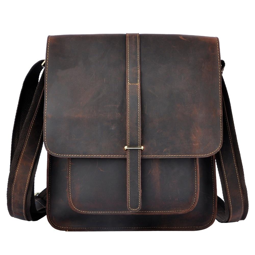 حقيبة كتف من الجلد الطبيعي للرجال ، حقيبة كتف ، كاجوال ، جلد البقر ، مقاس 12 بوصة ، 5867