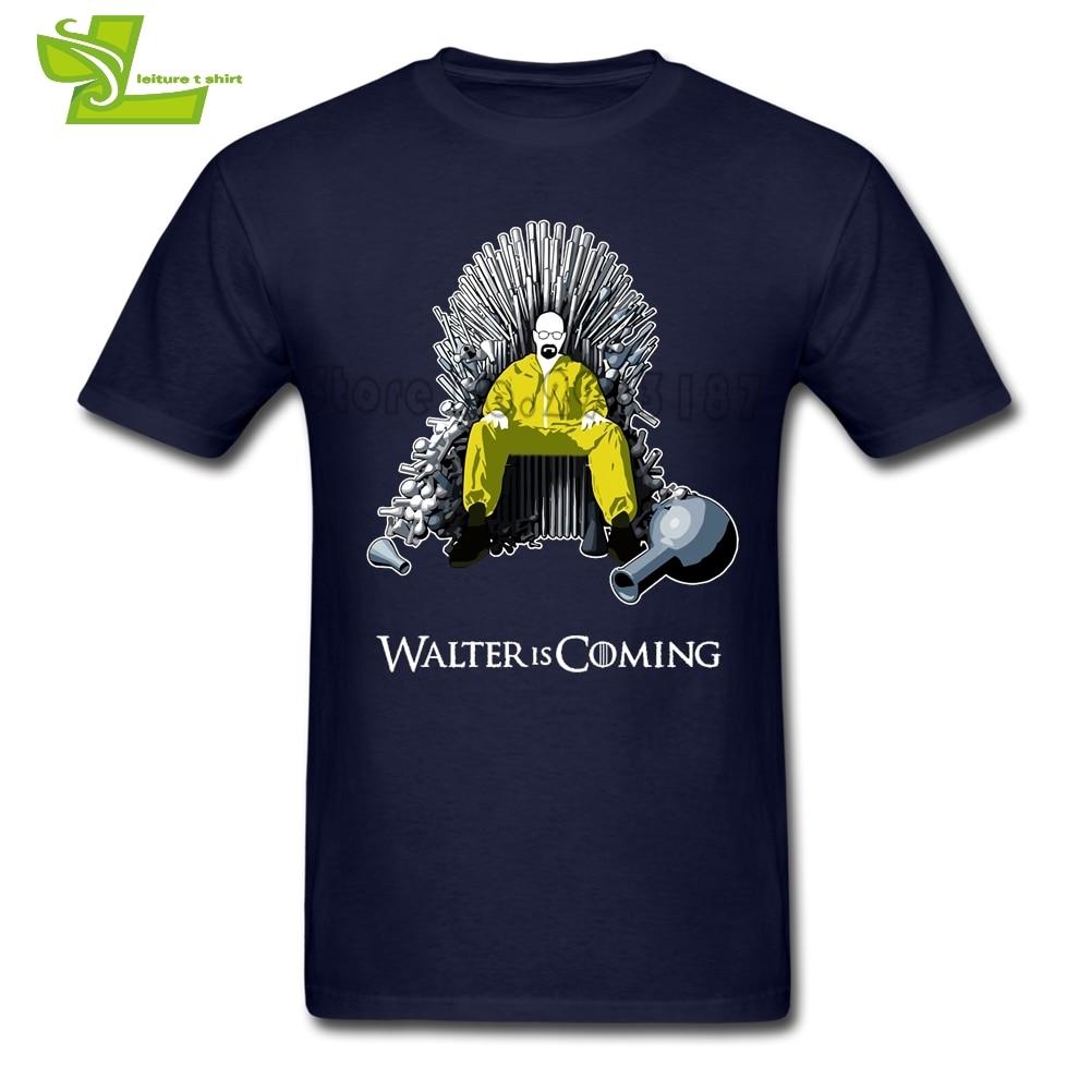 Camiseta de Walter Is Coming Breaking Bad X Juego de tronos para adultos, Camisetas estampadas a medida, camiseta única de chico O cuello para adolescentes