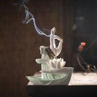F Bergamot Stick Incense Holder Miniatures Figurines Zen Ceramic Lotus Burner for Home Decor Buddhist Supplies Desk Decoration