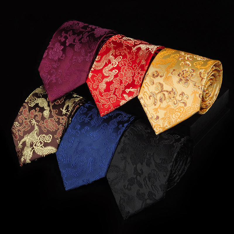 Corbatas de seda de hombres de lujo de 9 CM, corbatas de negocios a la moda para hombres, corbatas Retro chinas con tótem de dragón, corbatas clásicas, ropa de noche, corbata para boda