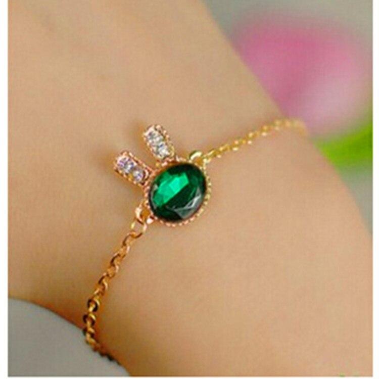 2018 Fashion Jewelry Cute Bunny Rhinestone Charm Bracelets & Bangles Blue Glass Bracelets For Women Gift Pulseira Feminina