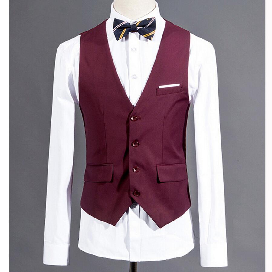 Homens terno colete roxo vermelho personalizado casamento padrinhos smoking colete masculino sólido vestido magro apto para o homem formal blazer colete