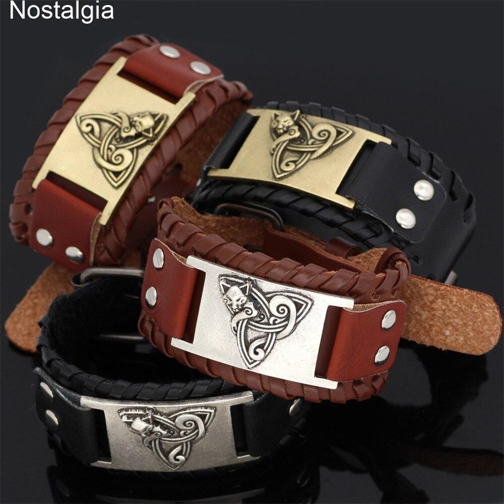 Talismán de cuero con nudo de la Trinidad Nostalgia, amuleto de zorro irlandés, accesorios para vikingos de animales, joyería Nórdica