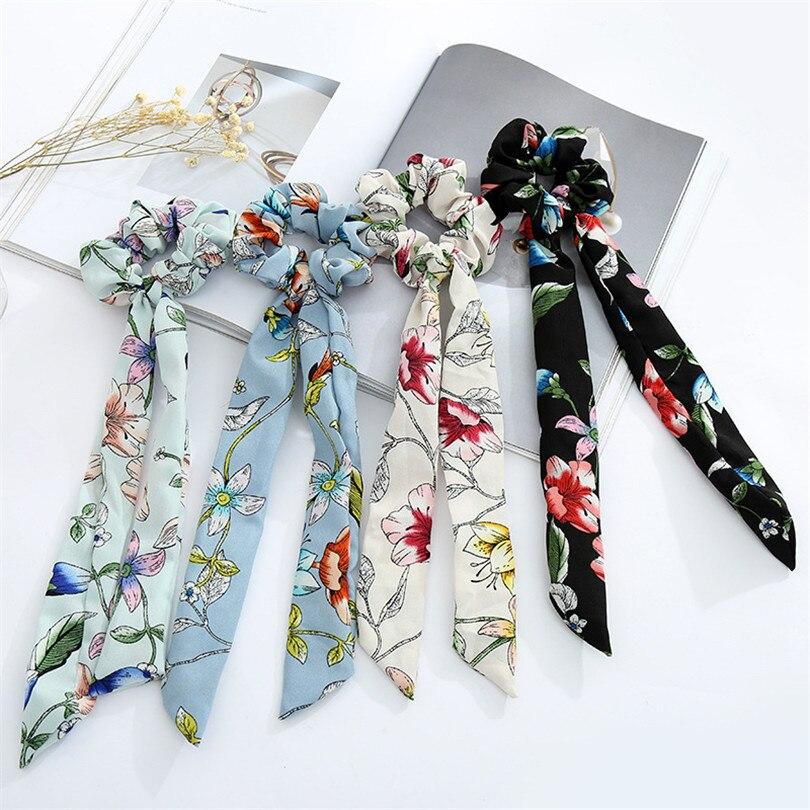 Haimeikang Chiffon Bow Long Hair Scrunchies Bow Women Hair Accessories Rubber Hair Rope Ponytail Holder Bows